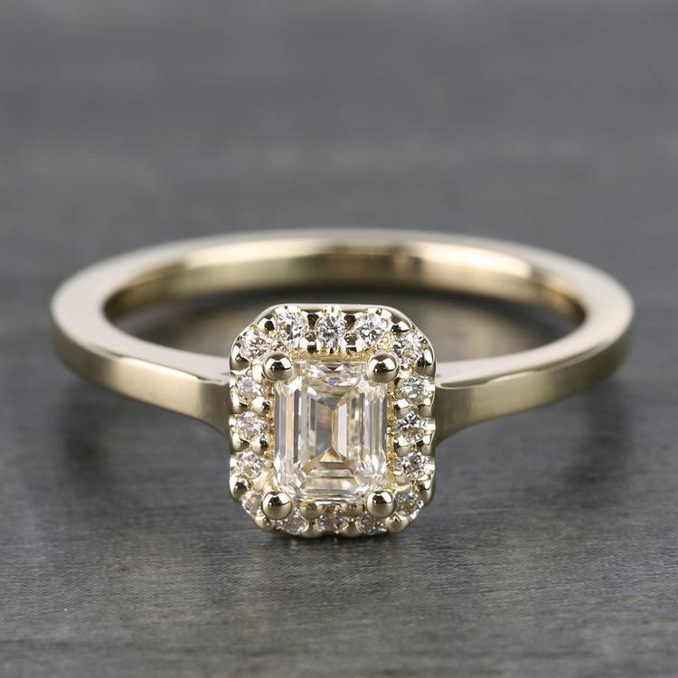 0.70 Carat Emerald Pave Halo Diamond Ring