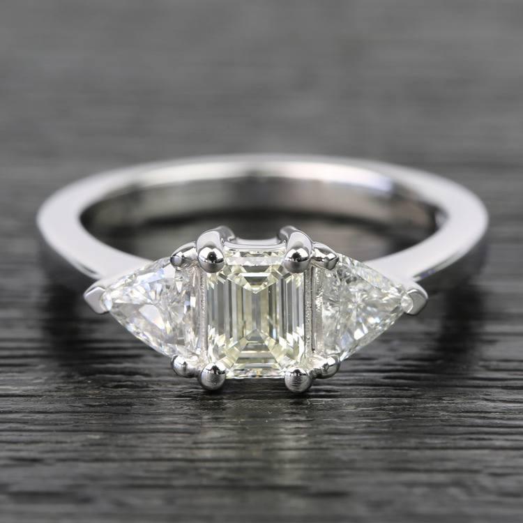 0.71 Carat Emerald & Trillion Diamond Engagement Ring