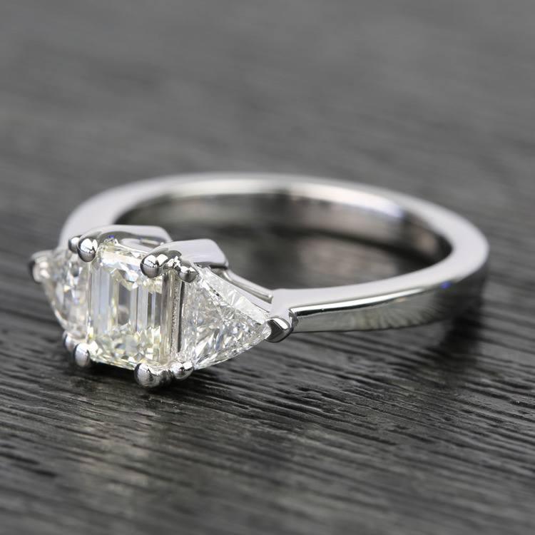 0.71 Carat Emerald & Trillion Diamond Engagement Ring angle 2