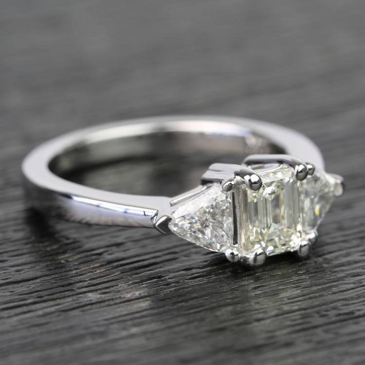 0.71 Carat Emerald & Trillion Diamond Engagement Ring angle 3