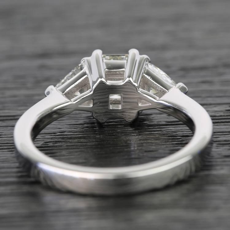 0.71 Carat Emerald & Trillion Diamond Engagement Ring angle 4
