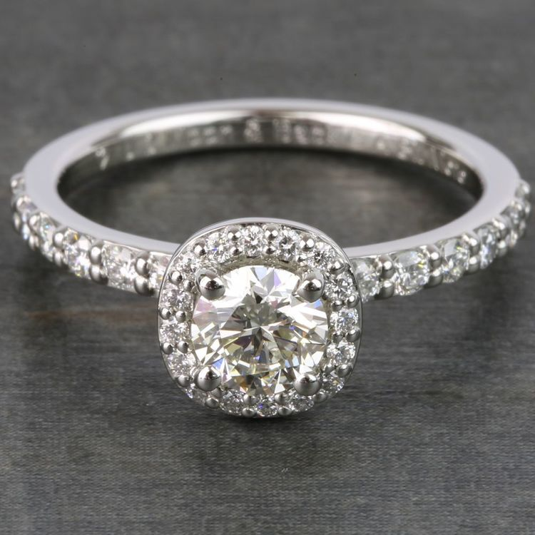 0.72 Carat Round Antique Halo Diamond Engagement Ring