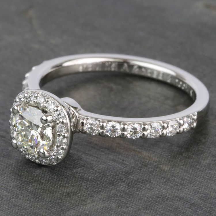 0.72 Carat Round Antique Halo Diamond Engagement Ring angle 2