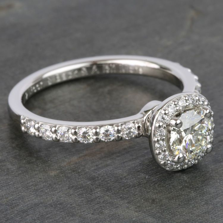 0.72 Carat Round Antique Halo Diamond Engagement Ring angle 3