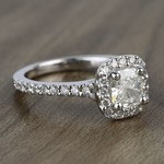 0.73 Carat Cushion Halo Diamond Engagement Ring - small angle 3