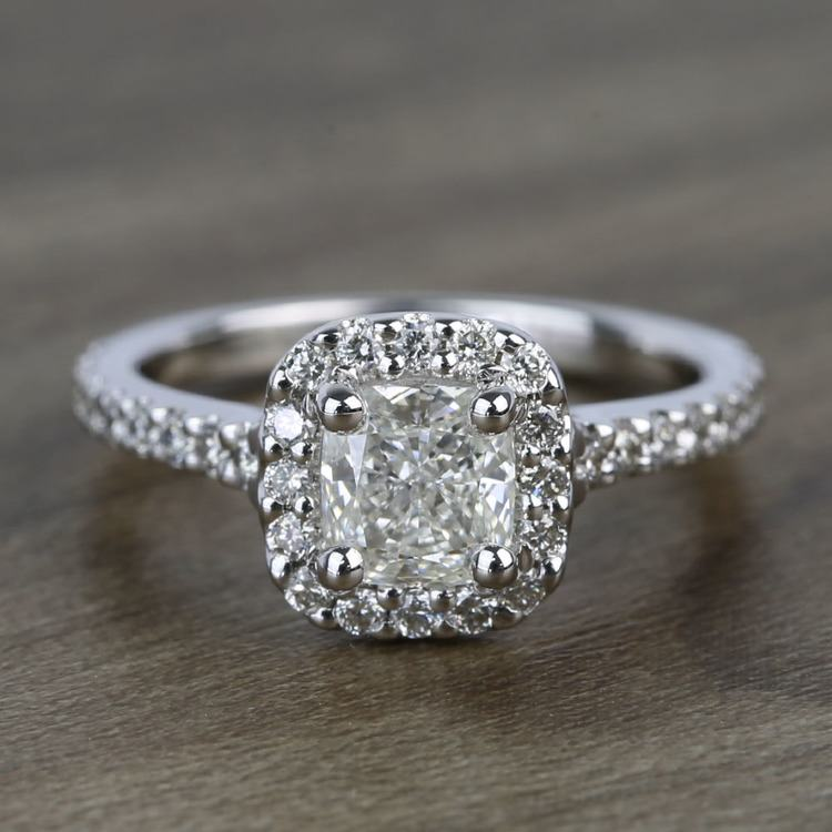 0.73 Carat Cushion Halo Diamond Engagement Ring