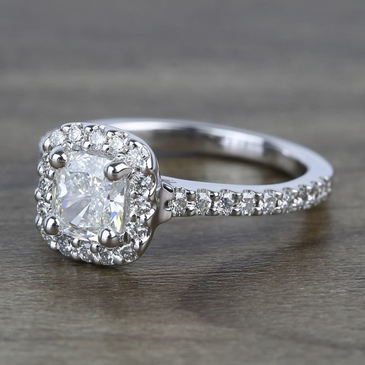 0.73 Carat Cushion Halo Diamond Engagement Ring angle 2