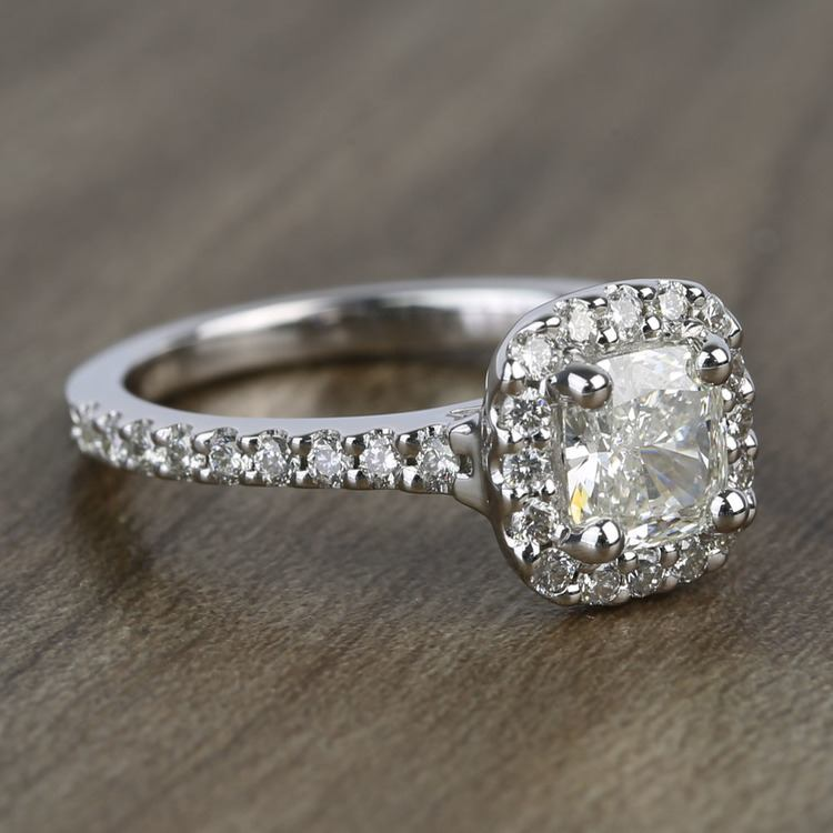0.73 Carat Cushion Halo Diamond Engagement Ring angle 3