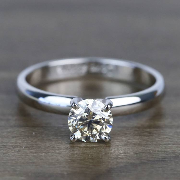 0.74 Carat Round Classic Solitaire Diamond Engagement Ring