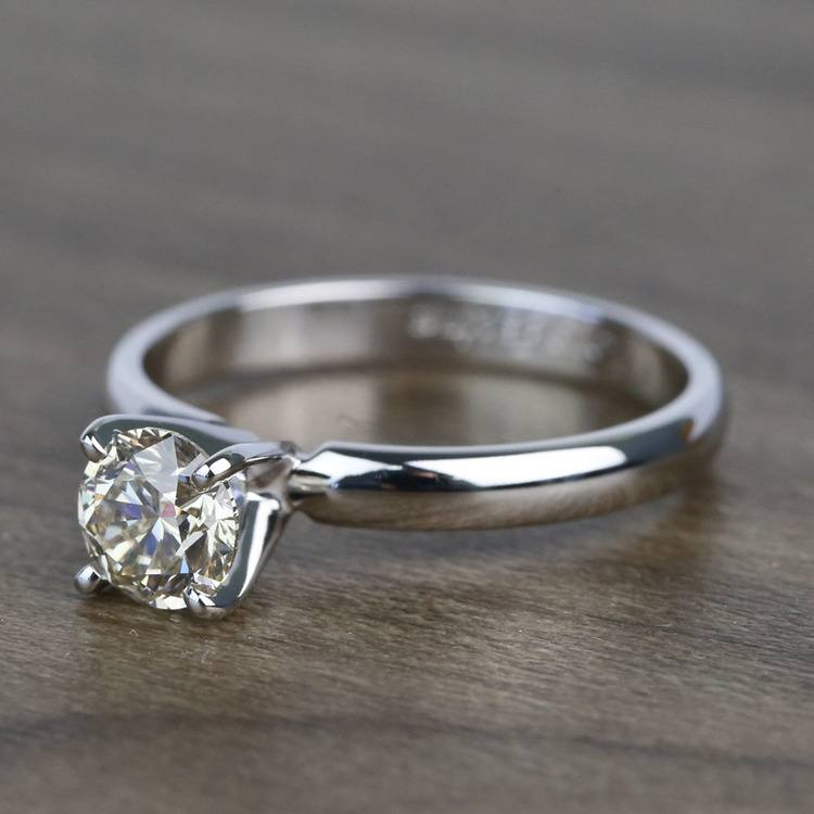 0.74 Carat Round Classic Solitaire Diamond Engagement Ring angle 2