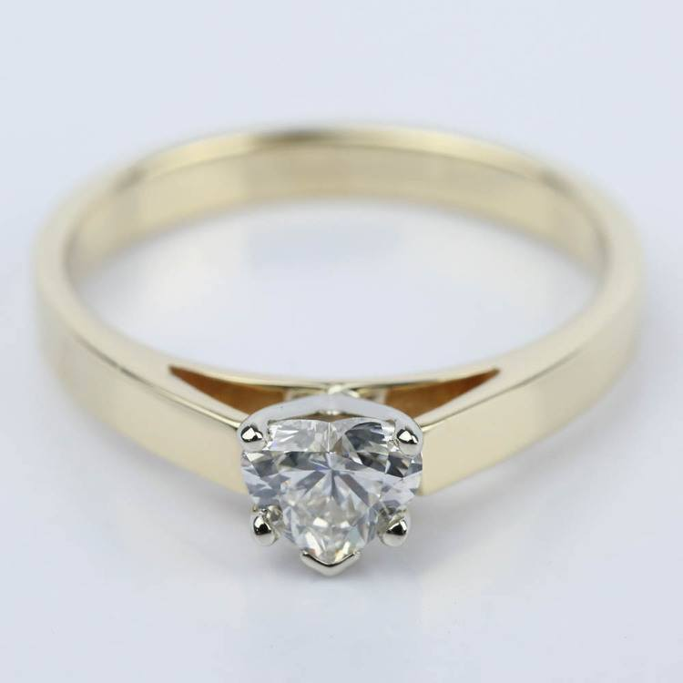 0.75 Carat Heart Diamond with Cathedral Engagement Ring