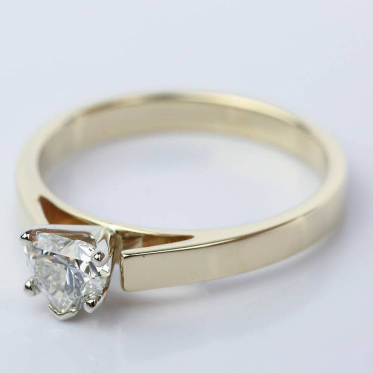 0.75 Carat Heart Diamond with Cathedral Engagement Ring angle 2