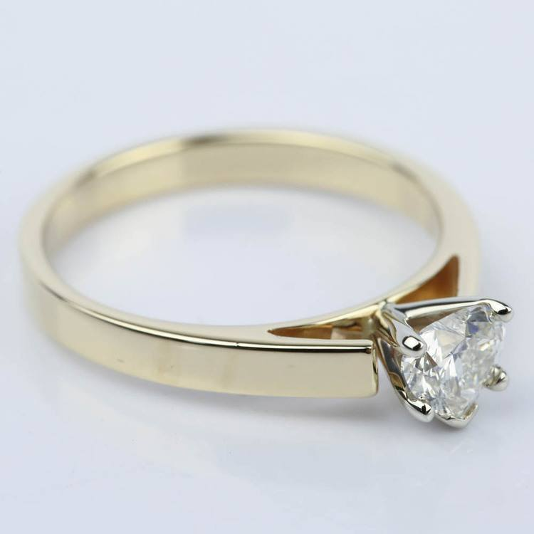 0.75 Carat Heart Diamond with Cathedral Engagement Ring angle 3