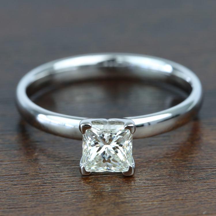 0.77 Carat Classic Princess Solitaire Diamond Engagement Ring