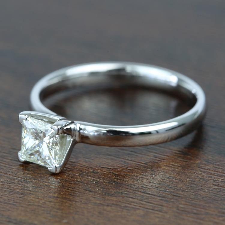 0.77 Carat Classic Princess Solitaire Diamond Engagement Ring angle 2