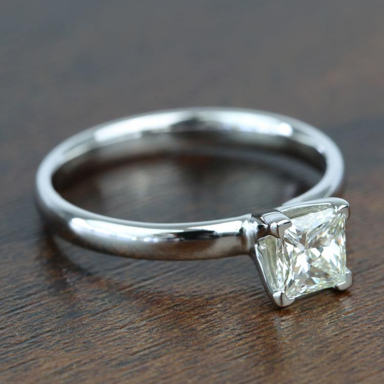 0.77 Carat Classic Princess Solitaire Diamond Engagement Ring angle 3