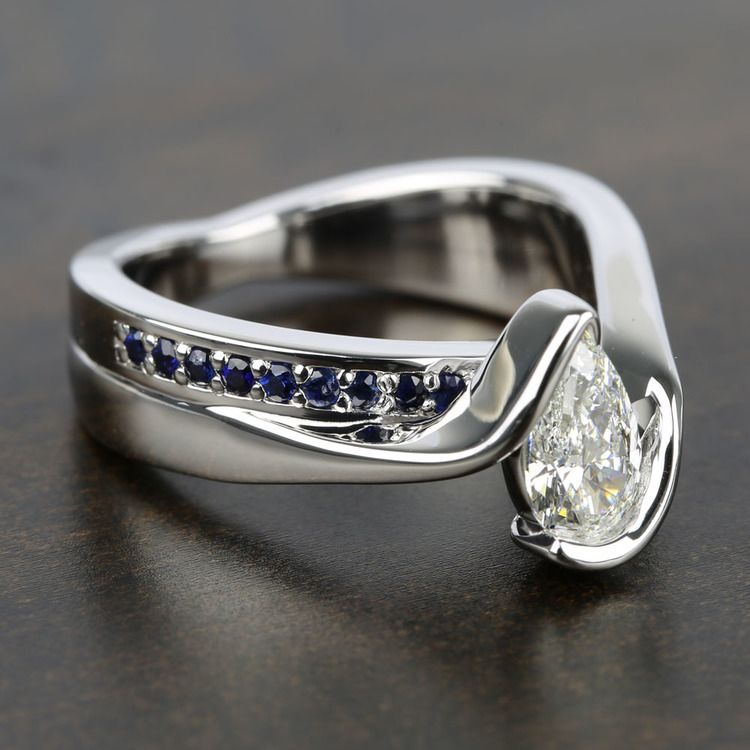 Bezel Bridge Sapphire Engagement Ring with Pear Diamond angle 3