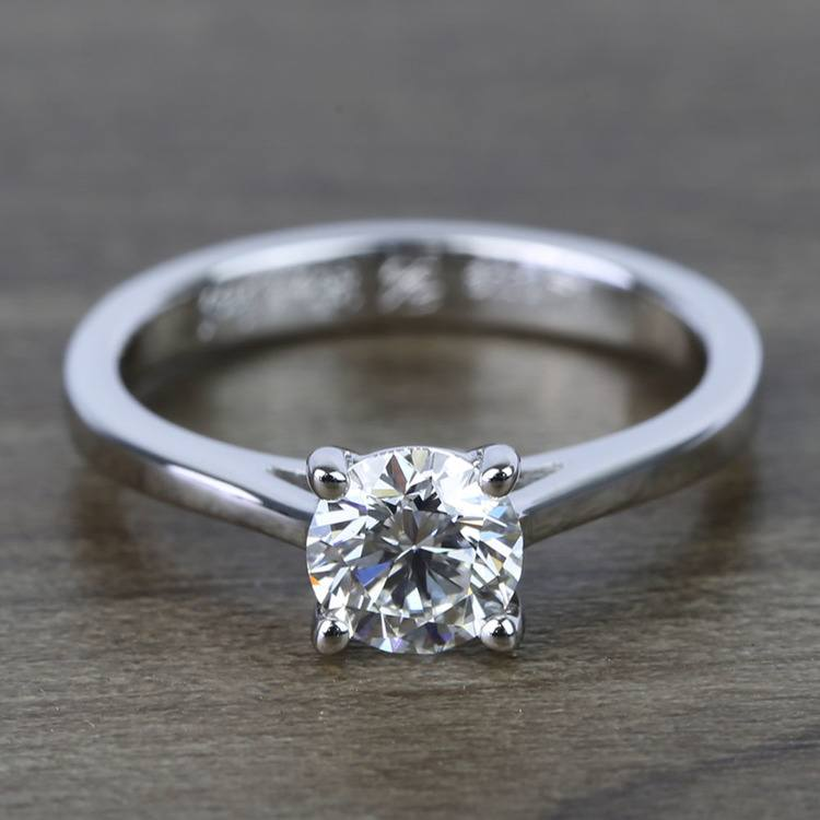 0.80 Carat Round Petite Cathedral Diamond Engagement Ring