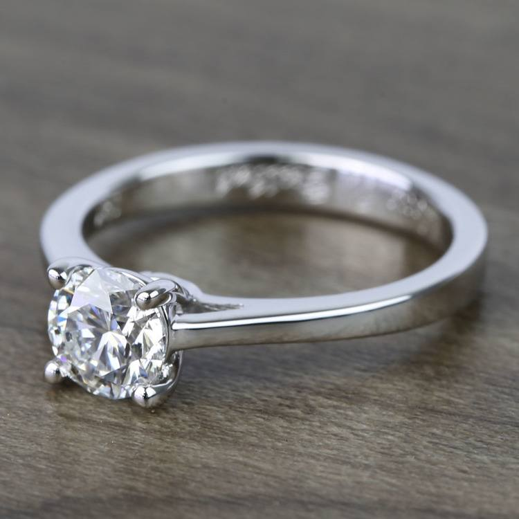 0.80 Carat Round Petite Cathedral Diamond Engagement Ring angle 2