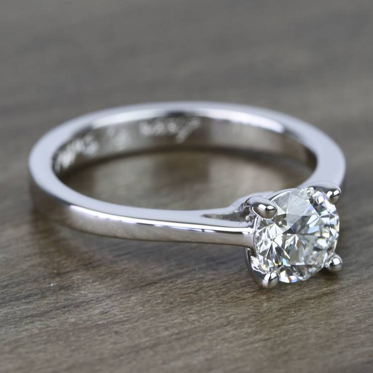 0.80 Carat Round Petite Cathedral Diamond Engagement Ring angle 3