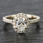 0.81 Carat Oval Pave Halo Diamond Engagement Ring - small