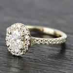 0.81 Carat Oval Pave Halo Diamond Engagement Ring - small angle 2