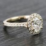 0.81 Carat Oval Pave Halo Diamond Engagement Ring - small angle 3