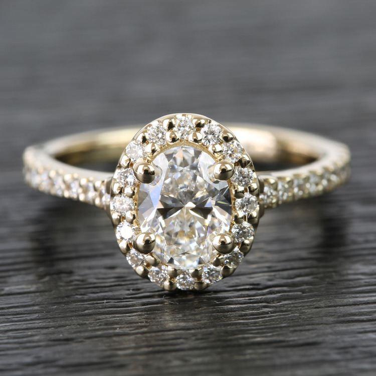 0.81 Carat Oval Pave Halo Diamond Engagement Ring