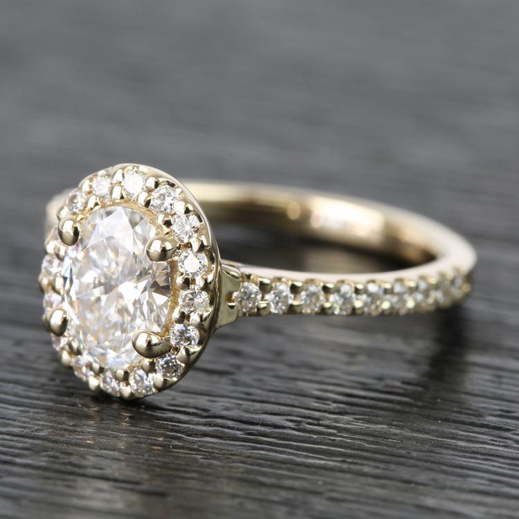 0.81 Carat Oval Pave Halo Diamond Engagement Ring angle 2