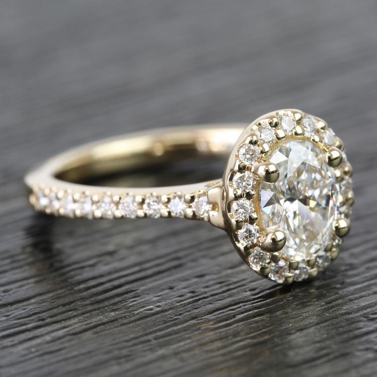 0.81 Carat Oval Pave Halo Diamond Engagement Ring angle 3