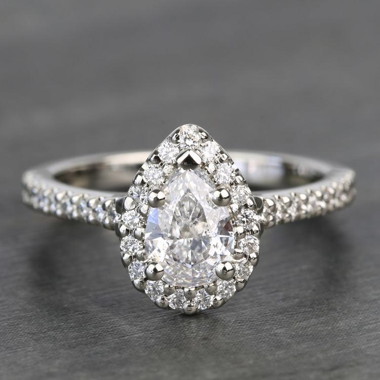 0.81 Carat Pear Halo Diamond Engagement Ring