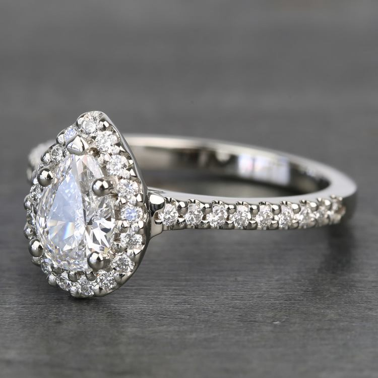 0.81 Carat Pear Halo Diamond Engagement Ring angle 2
