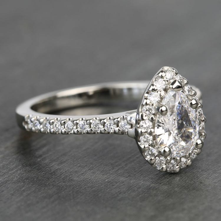 0.81 Carat Pear Halo Diamond Engagement Ring angle 3