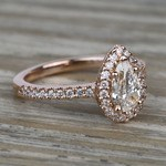 0.81 Carat Pear Pave Halo Diamond Engagement Ring - small angle 3