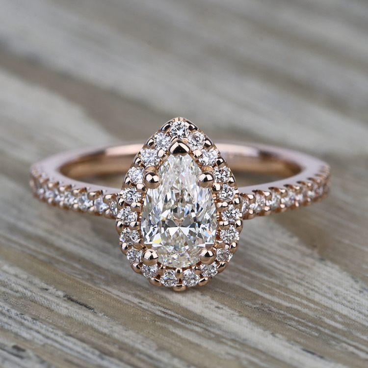 0.81 Carat Pear Pave Halo Diamond Engagement Ring