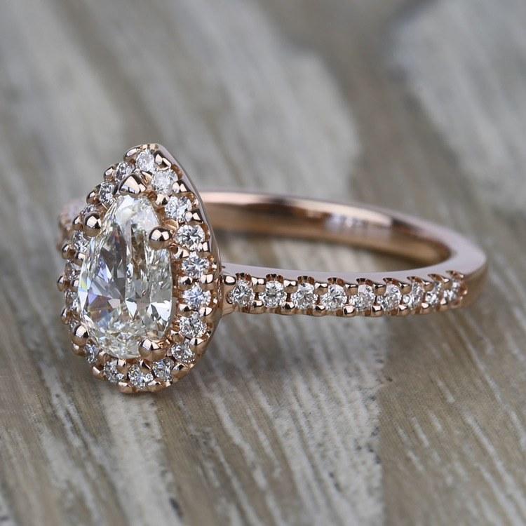 0.81 Carat Pear Pave Halo Diamond Engagement Ring angle 2
