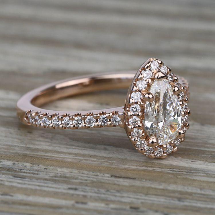 0.81 Carat Pear Pave Halo Diamond Engagement Ring angle 3