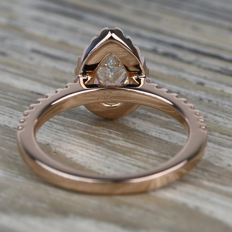0.81 Carat Pear Pave Halo Diamond Engagement Ring angle 4