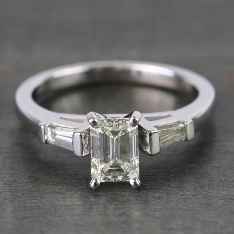0.90 Carat Emerald & Baguette Diamond Engagement Ring