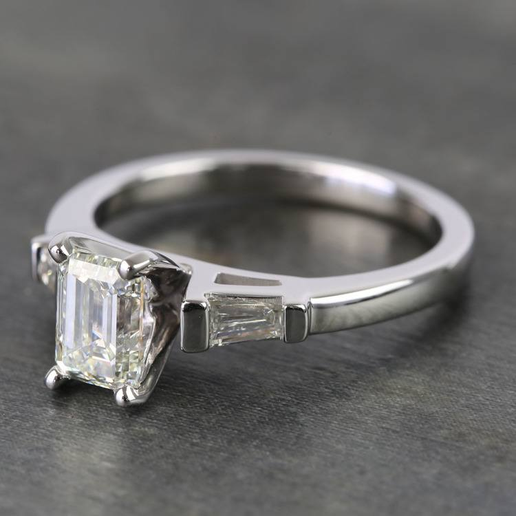 0.90 Carat Emerald & Baguette Diamond Engagement Ring angle 2