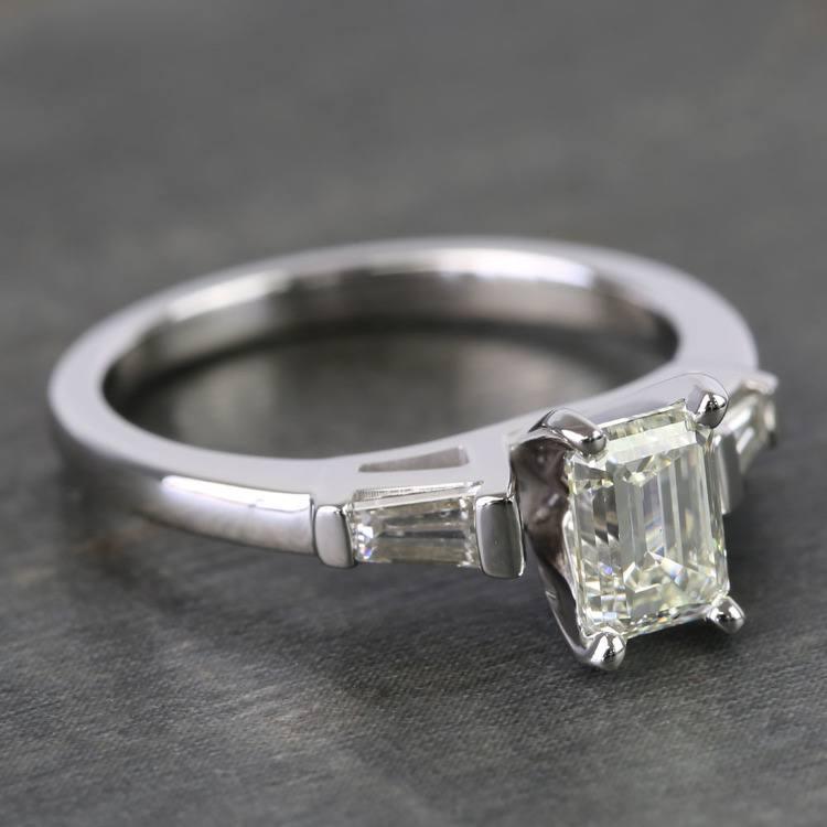 0.90 Carat Emerald & Baguette Diamond Engagement Ring angle 3
