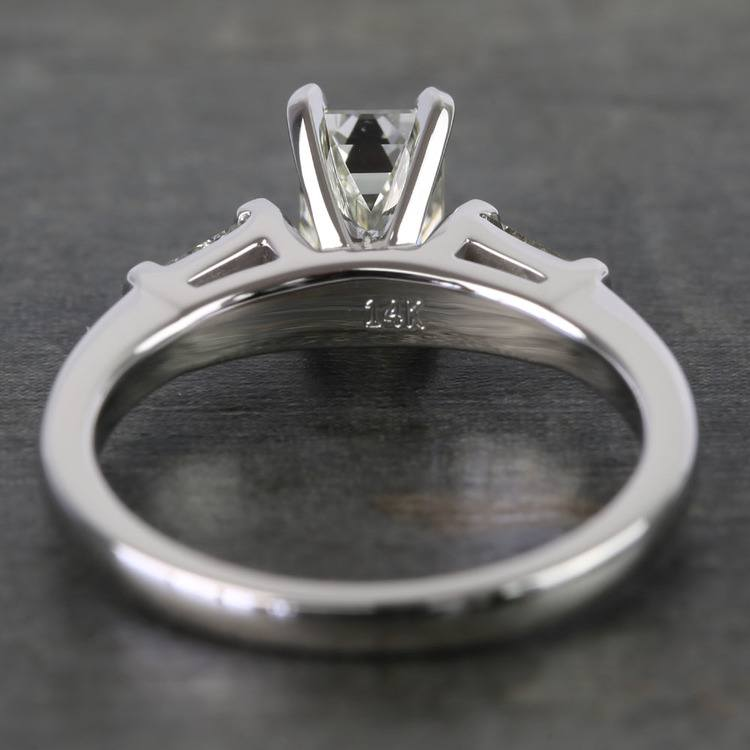 0.90 Carat Emerald & Baguette Diamond Engagement Ring angle 4