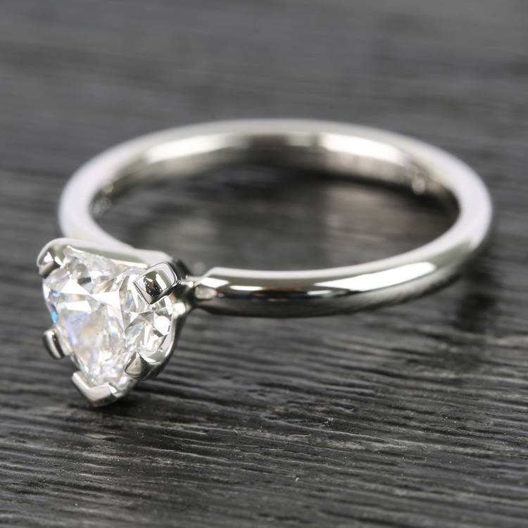 0.90 Carat Heart Comfort-Fit Solitaire Diamond Engagement Ring angle 2