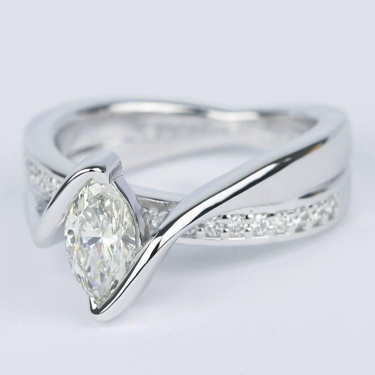 Marquise Bezel Diamond Bridge Engagement Ring (.90 Carat) angle 2