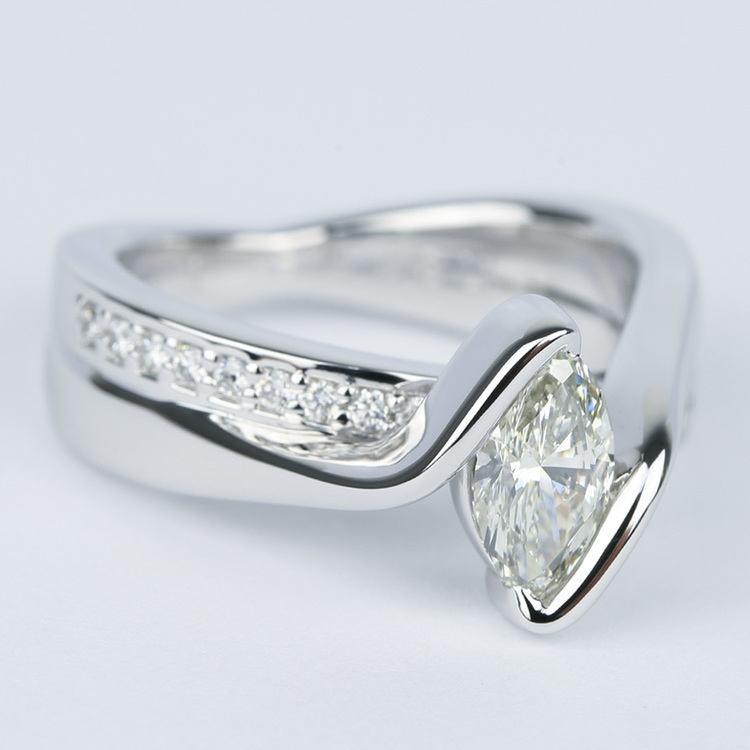Marquise Bezel Diamond Bridge Engagement Ring 90 Carat