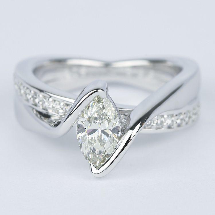 Marquise Bezel Diamond Bridge Engagement Ring (.90 Carat)