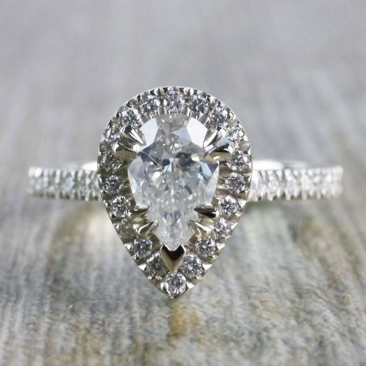 0.90 Carat Pear Diamond Ring With French Pave Diamond Halo