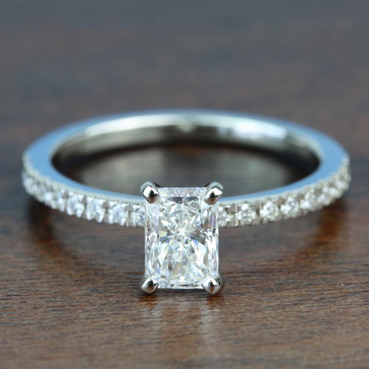 0.90 Carat Radiant Petite Pave Diamond Engagement Ring