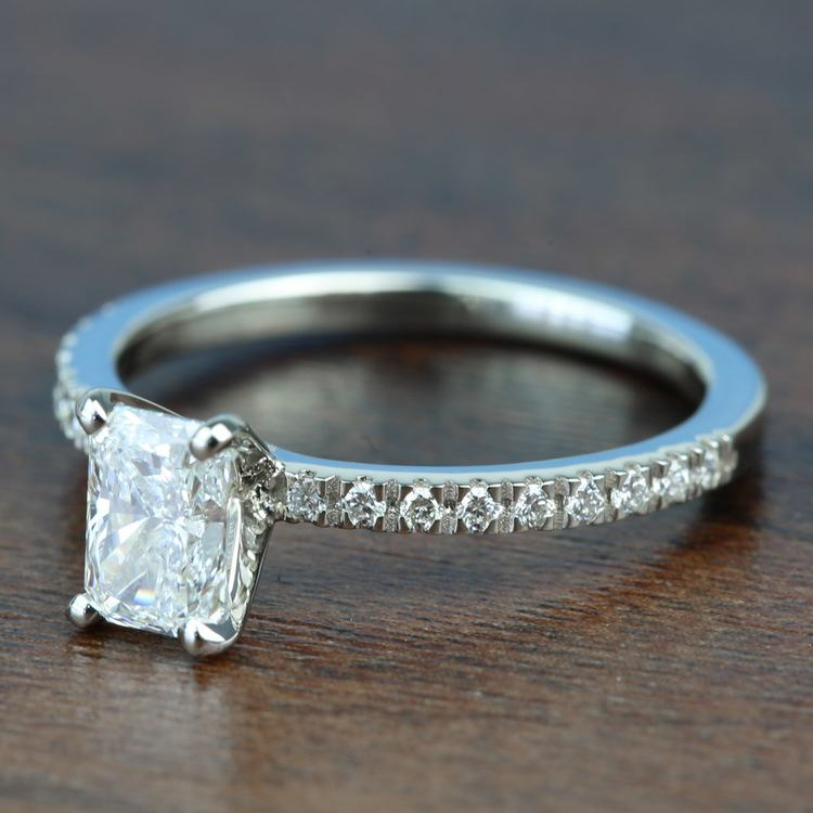 0.90 Carat Radiant Petite Pave Diamond Engagement Ring angle 2