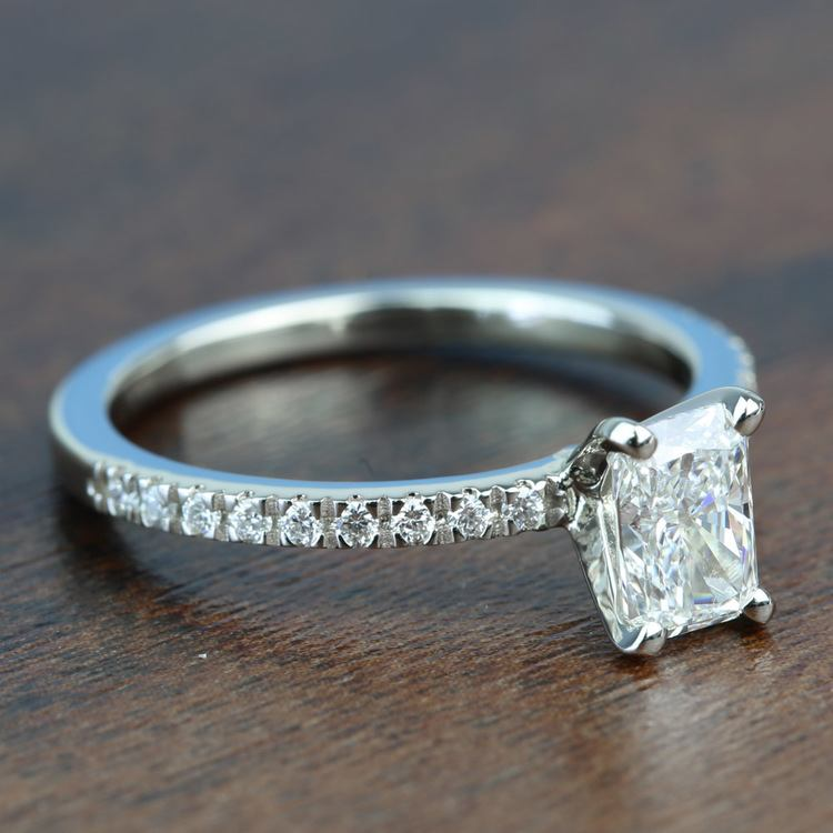 0.90 Carat Radiant Petite Pave Diamond Engagement Ring angle 3